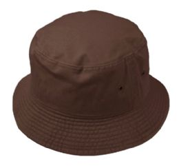 12 Units of Plain Cotton Bucket Hats In Brown - Bucket Hats