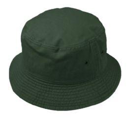 12 Units of Plain Cotton Bucket Hats In Hunter Green - Bucket Hats