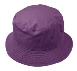 12 Units of Plain Cotton Bucket Hats In Purple - Bucket Hats