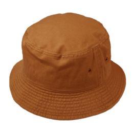 12 Units of Plain Cotton Bucket Hats In Rust - Bucket Hats