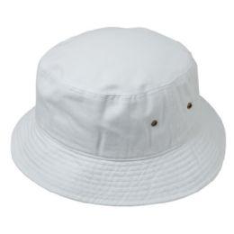 12 Units of Plain Cotton Bucket Hats In White - Bucket Hats