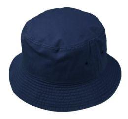 12 Units of Plain Cotton Bucket Hats In Navy - Bucket Hats