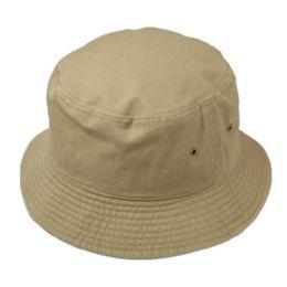 12 Units of Plain Cotton Bucket Hats In Khaki - Bucket Hats