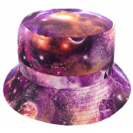 12 Units of Galaxy Print Reversible Bucket Hats In Purple Galaxy - Bucket Hats