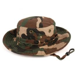 12 Units of Outdoor Cotton Bucket Hats With Strip In Camo Green - Bucket Hats