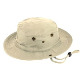 12 Units of Outdoor Cotton Bucket Hats With Strip In Khaki - Bucket Hats