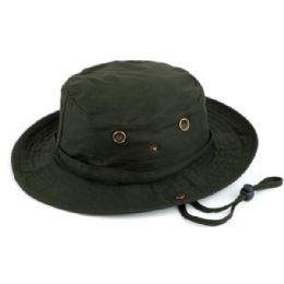 12 Units of Outdoor Cotton Bucket Hats With Strip In Olive - Bucket Hats