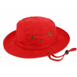 12 Units of Outdoor Cotton Bucket Hats With Strip In Red - Bucket Hats