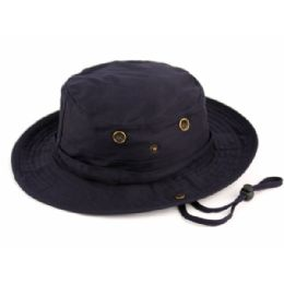 12 Units of Outdoor Cotton Bucket Hats With Strip In Navy - Bucket Hats