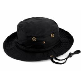 12 Units of Outdoor Cotton Bucket Hats With Strip In Black - Bucket Hats