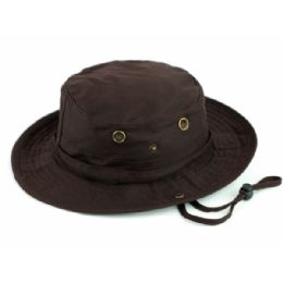 12 Units of Outdoor Cotton Bucket Hats With Strip In Brown - Bucket Hats