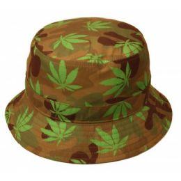 24 Units of Cannabis Leaf Print Bucket Hats - Bucket Hats