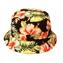 24 Units of Hibiscus Floral Bucket Hats - Bucket Hats