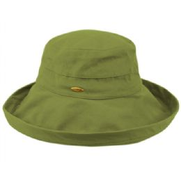12 Units of Cotton Canvas Sun Cloche Hats In Lime - Bucket Hats