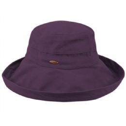 12 Units of Cotton Canvas Sun Cloche Hats In Purple - Bucket Hats