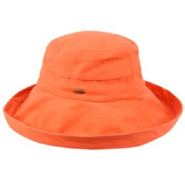 12 Units of Cotton Canvas Sun Cloche Hats In Orange - Bucket Hats