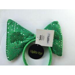 48 Units of Saint Patrick Day LED Flashing Headband With Large Bow - St. Patricks