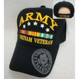 12 Units of Licensed Army [Vietnam Veteran] *Black Only - Military Caps