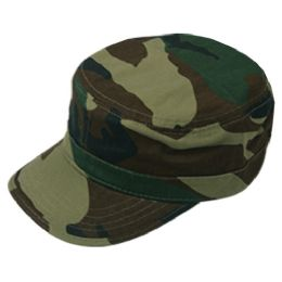 24 Units of FITTED ARMY MILITARY CADET IN CAMO GREEN - Military Caps