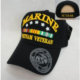 12 Units of Licensed Marines Hat [Vietnam Veteran] *Black Only - Military Caps