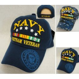 12 Units of Licensed Navy [Vietnam Veteran] Assorted Colors - Military Caps