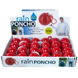 72 Units of Rain Poncho In A Ball Countertop Display - Umbrellas & Rain Gear