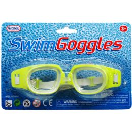 "144 Units of 6"" SWIMMING GOGGLES IN BLISTER CARD, 4 ASSRT CLRS"