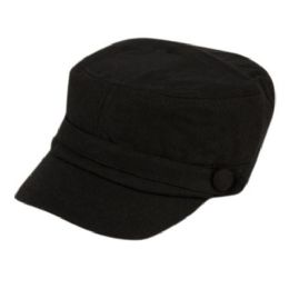 24 Units of SOLID BLACK MILITARY CADET HAT - Military Caps