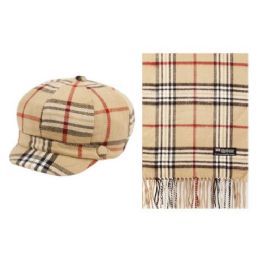 12 Units of PLAID CABBIE HAT AND SCARF SET - Winter Sets Scarves , Hats & Gloves