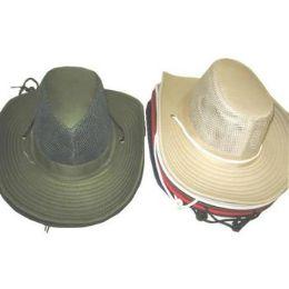72 Units of MENS SUMMER COWBOY HAT W / MESH UPPER PANEL - Cowboy & Boonie Hat