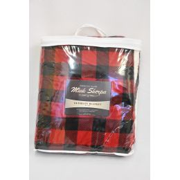 12 Units of Mink Sherpa Ultimate Blanket 50x60 Red Buffalo Plaid - Fleece & Sherpa Blankets