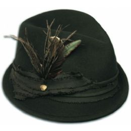 12 Units of Ladies Wool Felt Fedora With Feather Trim - Bucket Hats