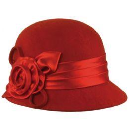 12 Units of Wool Felt Cloche Hat With Flower - Bucket Hats