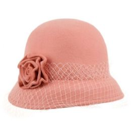 12 Units of Ladies Wool Felt Bucket Hats With Flower & Lace Trim - Bucket Hats