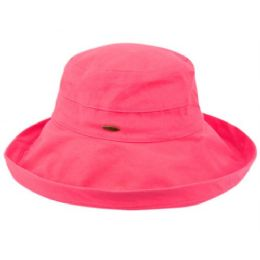 12 Units of Cotton Canvas Sun Cloche Hats In Hot Pink - Bucket Hats