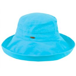 12 Units of Cotton Canvas Sun Cloche Hats In Torquoise - Bucket Hats