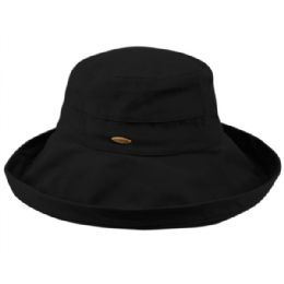 12 Units of Cotton Canvas Sun Cloche Hats In Black - Bucket Hats