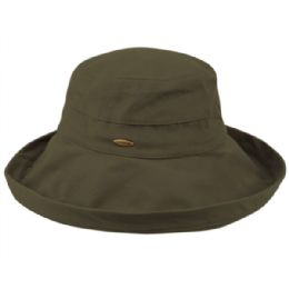 12 Units of Cotton Canvas Sun Cloche Hats In Olive - Bucket Hats