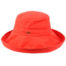 12 Units of Cotton Canvas Sun Cloche Hats In Red - Bucket Hats
