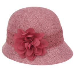 12 Units of Linen Cloche Hats With Lace Band And Flower - Bucket Hats