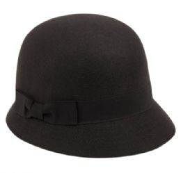 12 Units of Linen/cotton Cloche Hats With Black Band - Bucket Hats