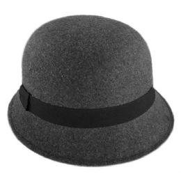 12 Units of Ladies Plain Poly Felt Cloche Hats W/grosgrain Band - Bucket Hats