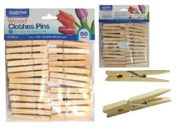 72 Units of 50pc Wooden Clothespins, Cloth Pegs - Clothes Pins