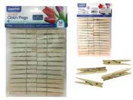 96 Units of 30 Piece Wooden Clothespins - Clothes Pins