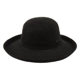 12 Units of Wide Brim Sun Bucket Hats In Black - Sun Hats