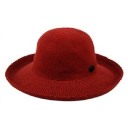 12 Units of Wide Brim Sun Bucket Hats In Burgandy - Sun Hats