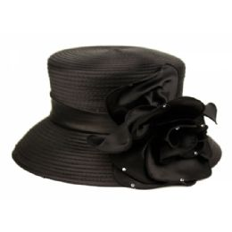 12 Units of SINAMAY HATS IN BLACK - Church Hats