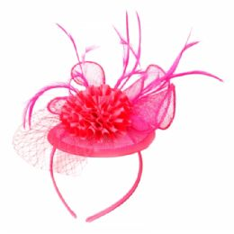 12 Units of FASCINATOR WITH FLOWER TRIM IN HOT PINK - Church Hats