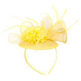 12 Units of FASCINATOR WITH FLOWER TRIM IN YELLOW - Church Hats
