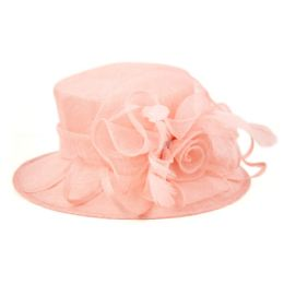 8 Units of SINAMAY FASCINATOR WITH FLOWER TRIM IN PINK - Church Hats